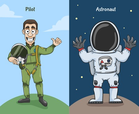 Astronaut in space suit and pilot thumbs up characters vector illustration