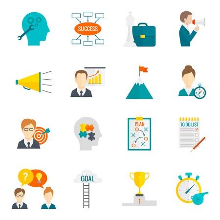 liderazgo empresarial: Gesti�n de liderazgo empresarial coaching y motivaci�n del trabajo en equipo icono plana conjunto aislado ilustraci�n vectorial