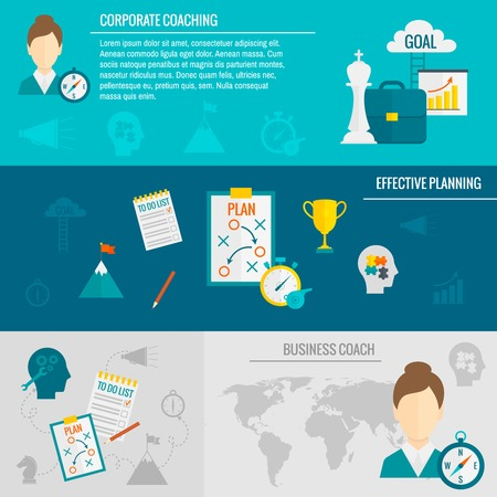 effective: Coaching business banner set with corporate business effective planning elements isolated vector illustration