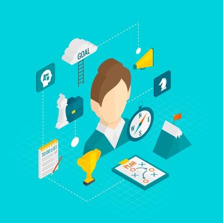 reward: Coaching business isometric icon set with female coach avatar vector illustration Illustration
