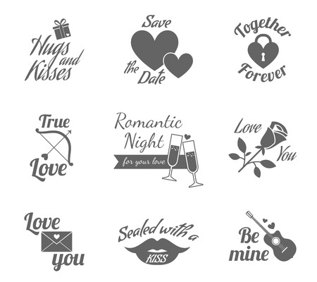 romantic sex: Valentine romantic love relationship labels icons collection with heart lock symbolic emblem black abstract isolated vector illustration Illustration