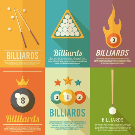 Billiards pool snooker accessories mini poster flat set isolated vector illustration