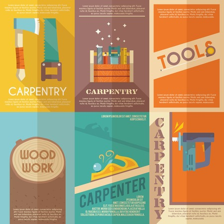 carpenter tools: Carpentry mini poster flat set with wood work toolbox isolated vector illustration