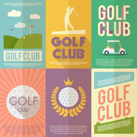 club flyer: Golf club competition tournament mini poster flat set isolated vector illustration