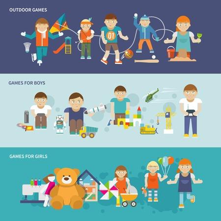 Enfants jouant bannière fixe prévu avec les filles et les garçons jeux de plein air vecteur isolé illustrations Banque d'images - 35957721