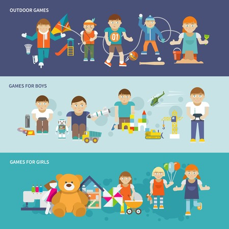 kids toys: Kids playing flat banner set with girls and boys outdoor games isolated vector illustration Illustration