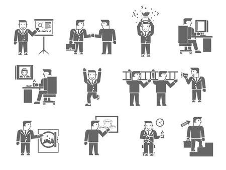 Businessman working black set with management partnership presentation symbols isolated vector illustration Vector