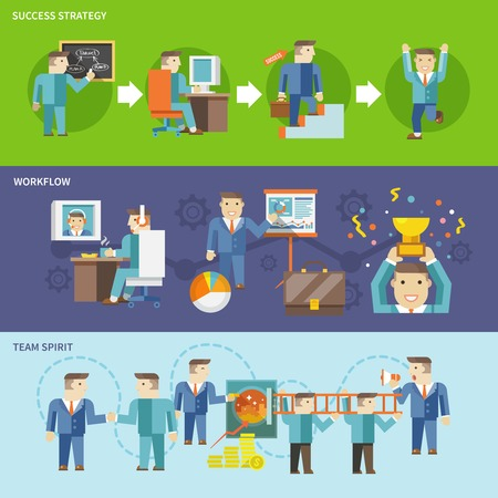 Businessman working flat banner set with success strategy workflow team spirit isolated vector illustration