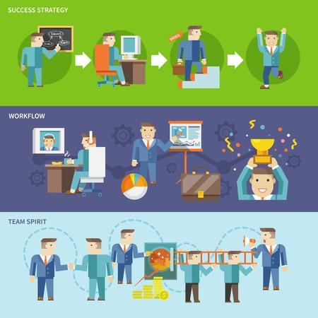 Zakenman werken flat-banner met geïsoleerde succes strategie workflow teamgeest vector illustratie