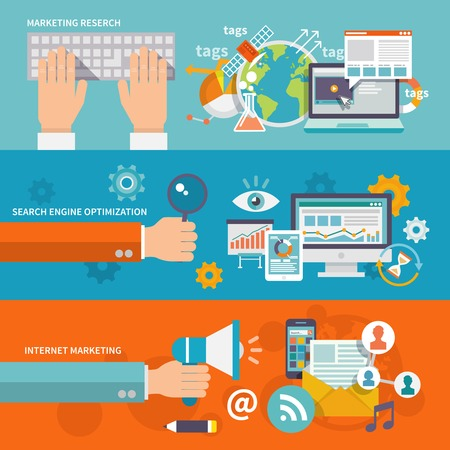 content: Seo internet marketing banner flat set with research search engine optimization isolated vector illustration