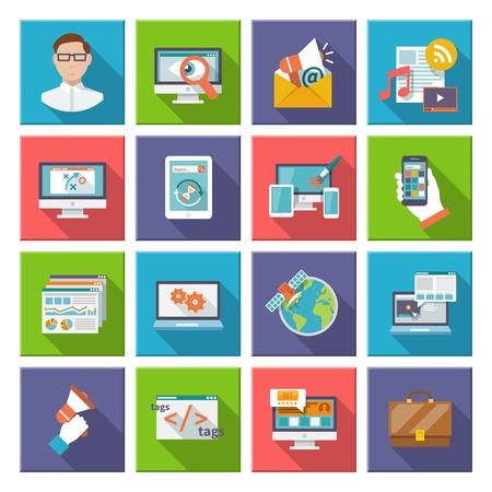 contextual: Elementos de dise�o de internet inform�ticos comercializaci�n Seo icono plana conjunto aislado ilustraci�n vectorial Vectores
