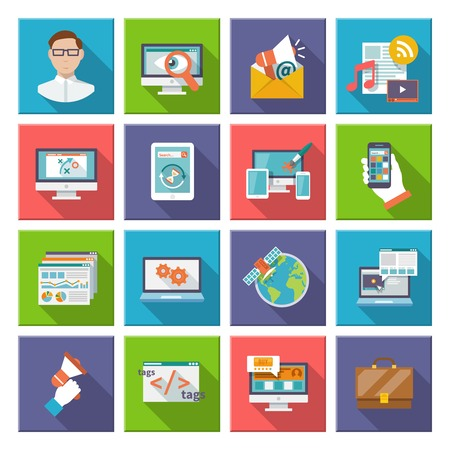 web elements: Seo internet marketing computer design elements flat icon set isolated vector illustration Illustration