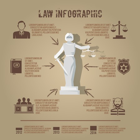 Supreme court judge and penal jury conviction verdict infographic poster presentation with lady justice abstract vector illustration Illustration