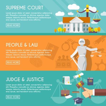 balanza de la justicia: Juez de la corte suprema de justicia y con los ojos vendados con la espada y las escalas de personas ley plana horizontal banners ilustraci�n vectorial