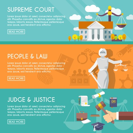 Supreme court judge and blindfolded justice with sword and scales people law flat horizontal banners vector illustration