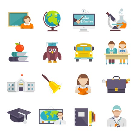 School icoon platte set met leraar leerlingen en onderwijs elementen geïsoleerd vector illustratie