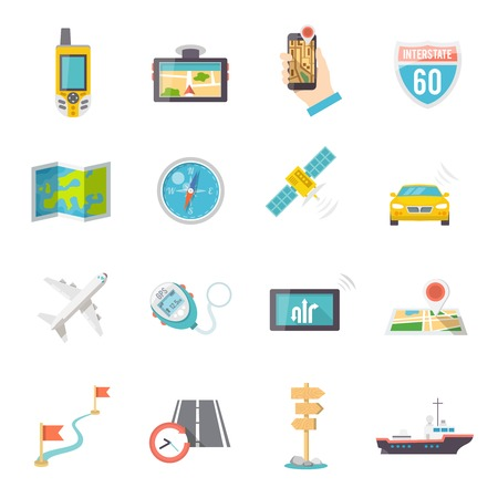 gps device: Navigation direction and position finder systems flat icons collection with road map flags abstract isolated vector illustration