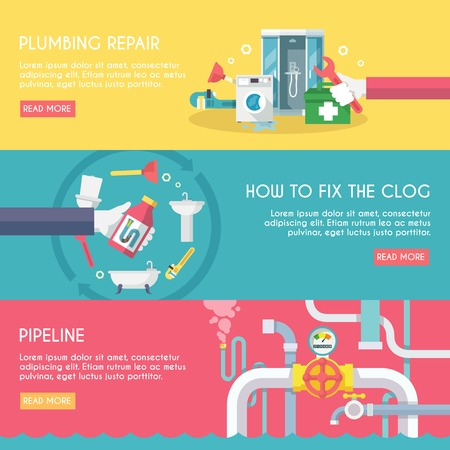 Plumbing repair fix the clog pipeline horizontal banner set isolated vector illustration Vectores