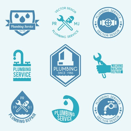 kit design: Plumbing pipelines leakage home facilities repair service flat labels collection with water drops abstract vector isolated illustration