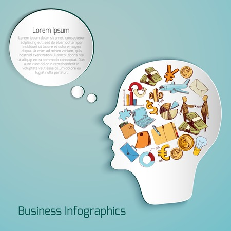 head paper: Human paper head with business sketch icons set and speech bubble vector illustration