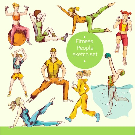 physical activity: Fitness people sport training healthy physical exercises sketch colored decorative icons isolated vector illustration