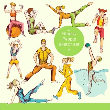 actividad fisica: Preparaci�n f�sica gente deporte ejercicios f�sicos saludables croquis iconos decorativos de colores aislados ilustraci�n vectorial Vectores