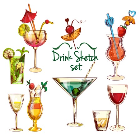alcoholic drink: Sketch alcoholic beverages cocktail drink set isolated vector illustration