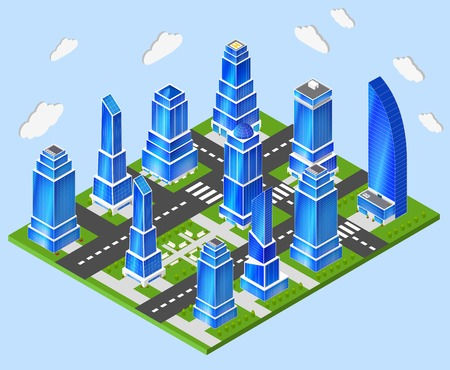 high rise buildings: Residential and industrial downtown high rise tower buildings city center 3d block composition prototype model layout planning
