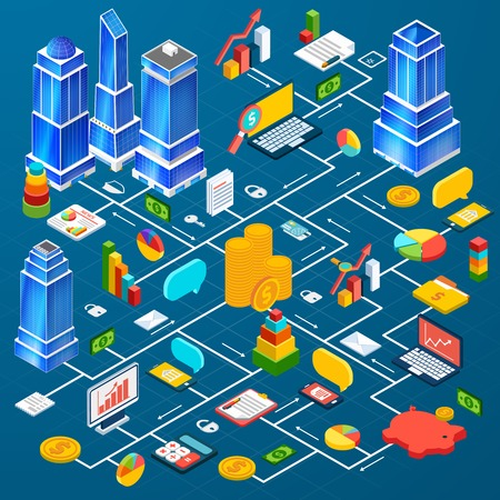 urban planning: Residential and industrial downtown high rise buildings blocks city center development prototype planning 3d infographic elements composition