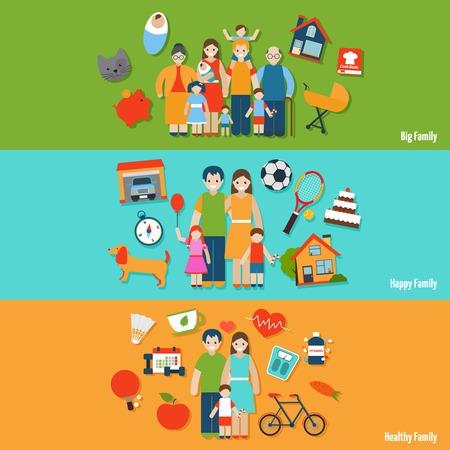 Big happy healthy family flat horizontal banner set isolated vector illustration