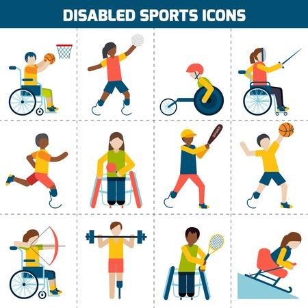 discapacitado: Desactivado concepto de dise�o deportivo con personas discapacitadas que juegan iconos ciclismo esgrima f�tbol conjunto aislado ilustraci�n vectorial Vectores