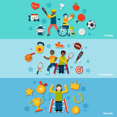 disabled sports: Disabled sports flat horizontal banners set with training competition records isolated vector illustration
