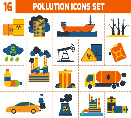 Pollution environment contamination toxic waste and ecology icons set isolated vector illustration