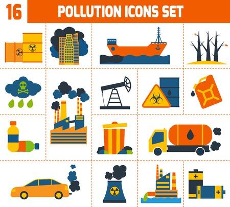 Vervuiling verontreiniging milieu giftig afval en ecologie pictogrammen instellen geïsoleerd vector illustratie