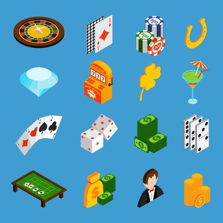 dados: Iconos isom�tricos Casino establecen con tarjetas de ruleta dados dinero aislados ilustraci�n vectorial
