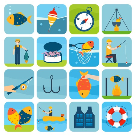 Fishing outdoor vacation fun activity icons set isolated vector illustration Vector