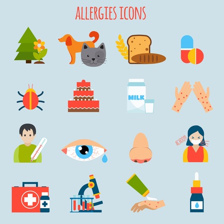 allergen: Plant fur wheat insect allergies icon set isolated vector illustration