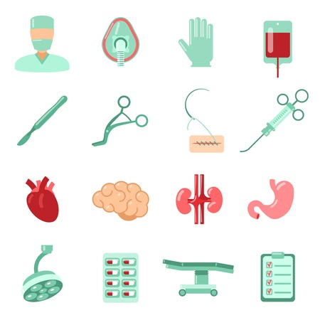 surgical operation: Aesthetic plastic surgery operation hospital icons set isolated vector illustration