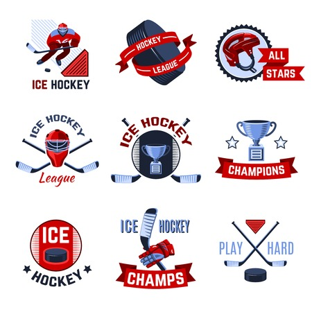 hockey games: Ice hockey sport league champions emblems set isolated vector illustration Illustration