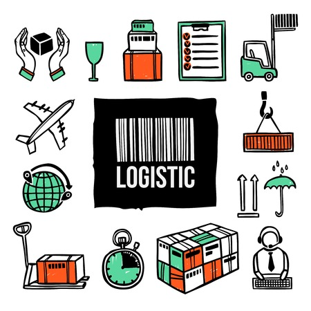 box weight: Logistic freight shipping export and transportation decorative icon set isolated vector illustration Illustration