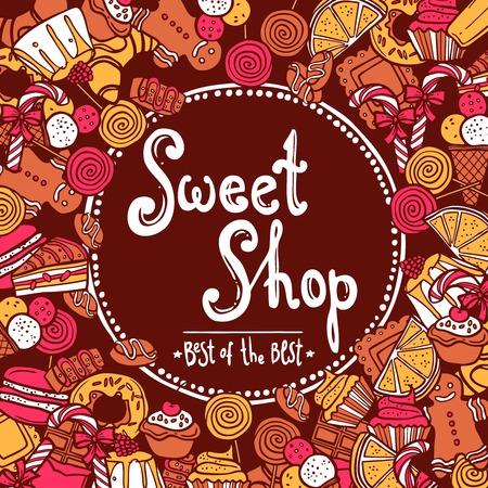 sweet shop: Fondo tienda de dulce con galletas de croquis donut de chocolate ilustraci�n vectorial magdalena