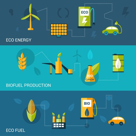 bio fuel: Bio fuel flat banners set with eco energy production elements isolated vector illustration