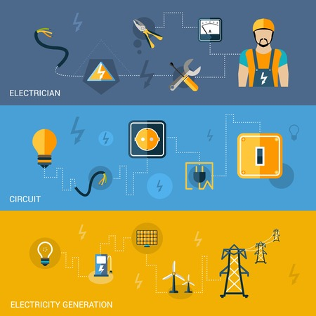 electrician with tools: Electricity flat banners set with electrician circuit generation elements isolated vector illustration Illustration