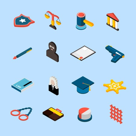 jury: Law and judgment icons isometric set with jury attorney handcuffs isolated vector illustration Illustration