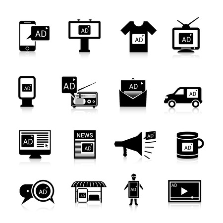 Advertising icons black set with multimedia propaganda publication isolated vector illustration Ilustracja