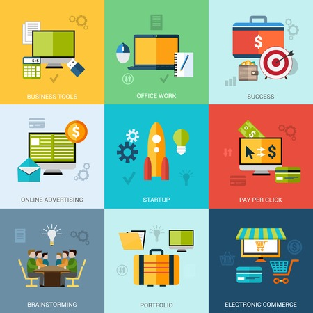 online advertising: Business concept set with office work success online advertising icons isolated vector illustration