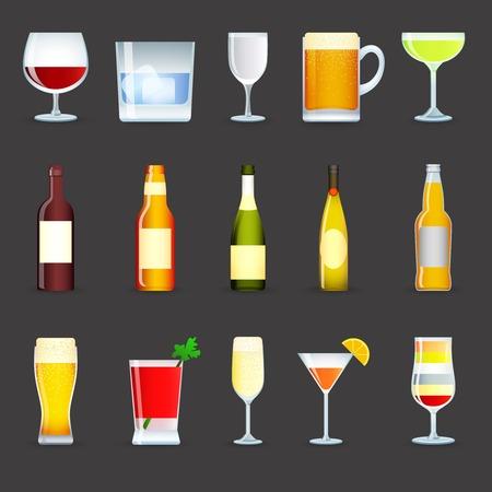 Boissons alcooliques icônes décoratifs fixés avec du vin cocktail de vodka bière isolé illustration vectorielle Vecteurs