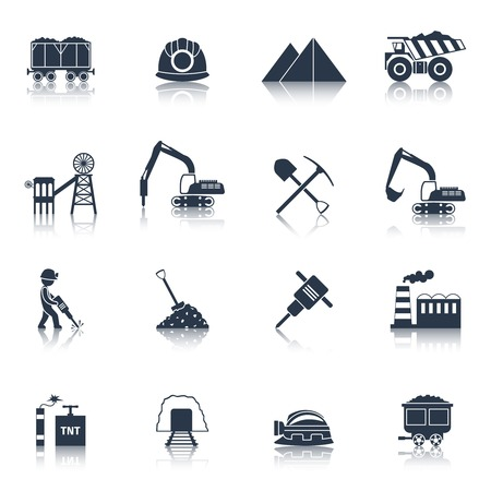 dump truck: Coal industry icons black set with train truck factory isolated vector illustration
