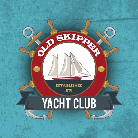 skipper: Vintage nautical old skipper yacht club emblem with sailing ship vector illustration