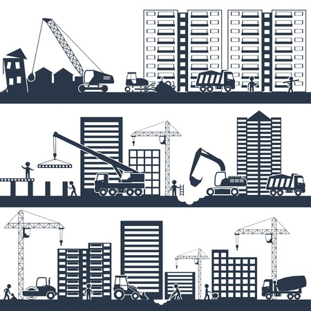 Construction industrial composition black with building machinery and people working vector illustration